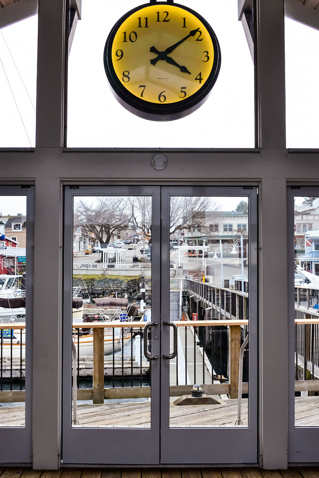 Friday Harbor through the doors of the passenger terminal at the Spring Street Landing