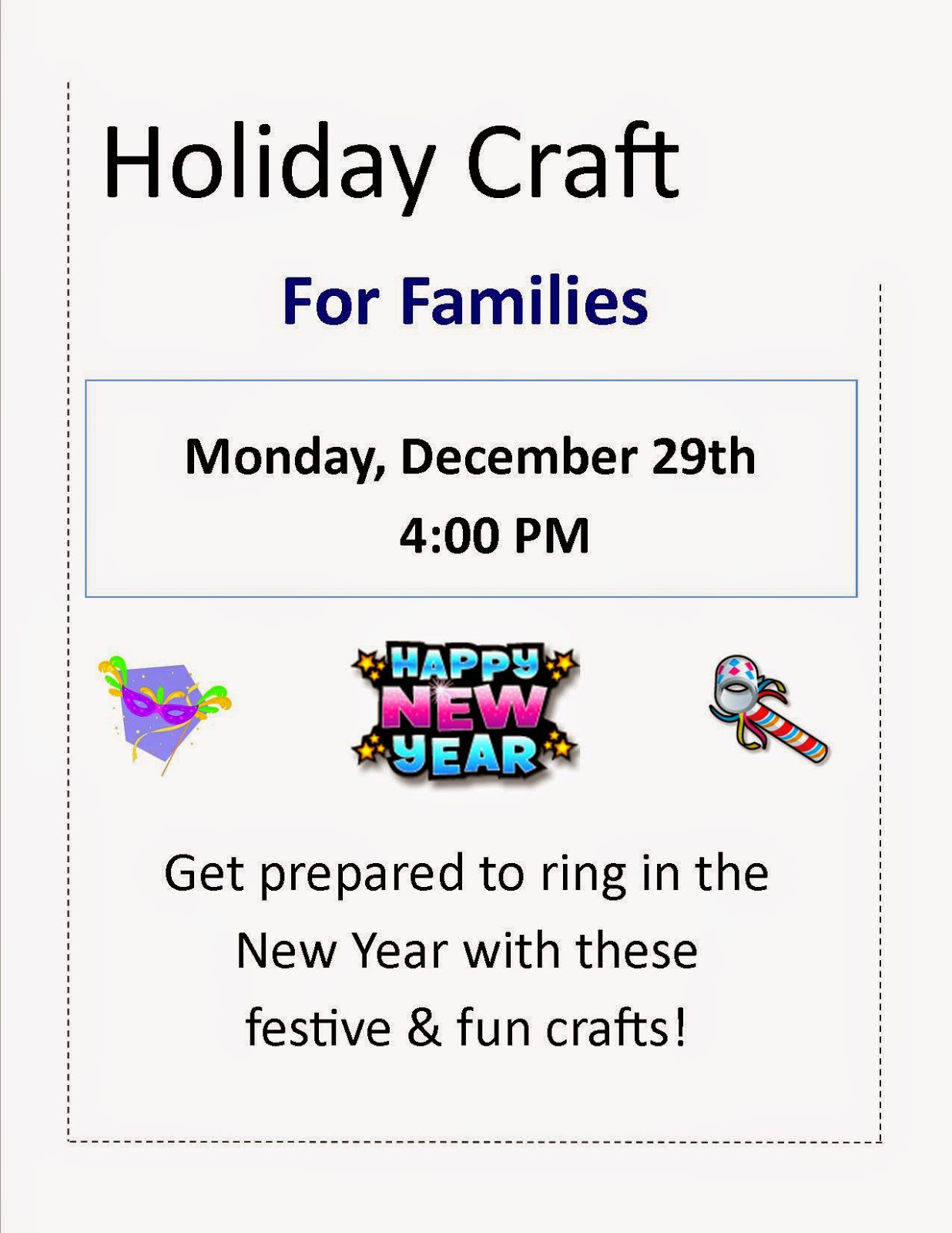 Holiday craft for families - Dec 29th