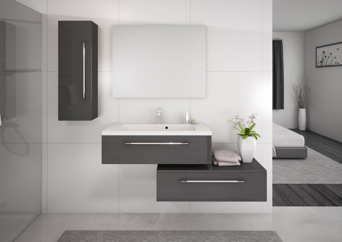 Stunning salle de bain blanc gris bleu photos awesome interior home satellite for Salle de bain bleu gris