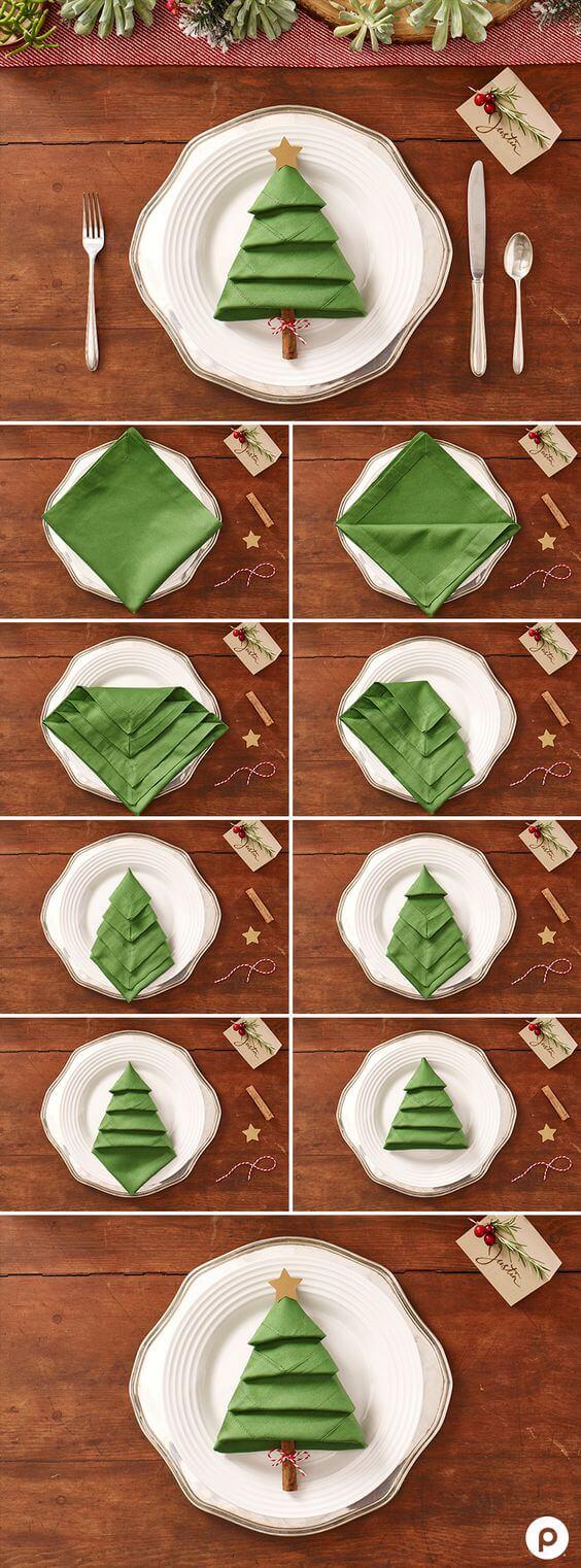 dobla servilletas para la cena de navidad