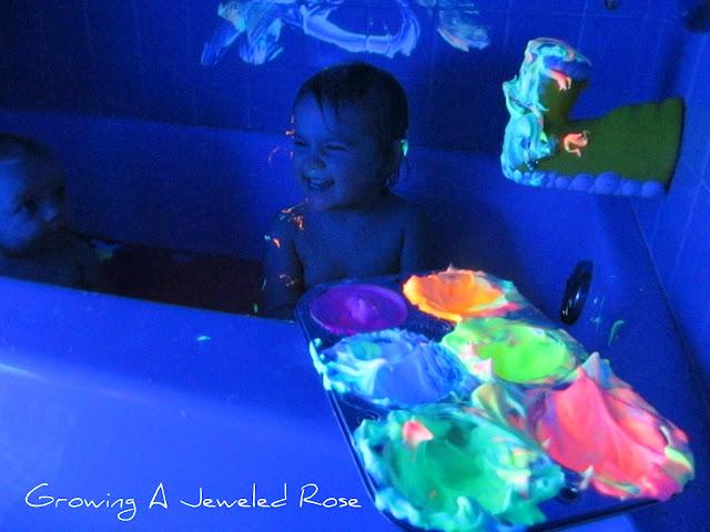 Glowing Homemade Bath Paint Activity