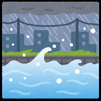 氾濫する川のイラスト