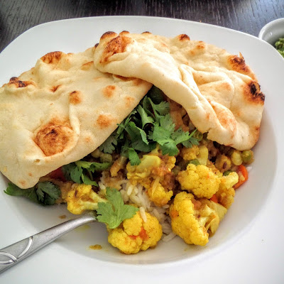 Cauliflower Curry:  Tender cauliflower cooked in warm Indian spices.