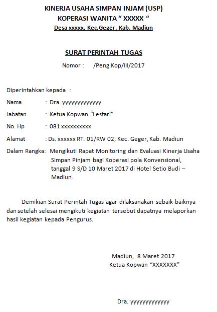Contoh Surat Perintah Tugas Koperasi Wanita (Kopwan) Rapat Monitoring dan Evaluasi