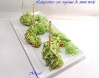 Langostinos rebozados con arroz verde
