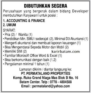 Lowongan Kerja PT. Permataland Properties