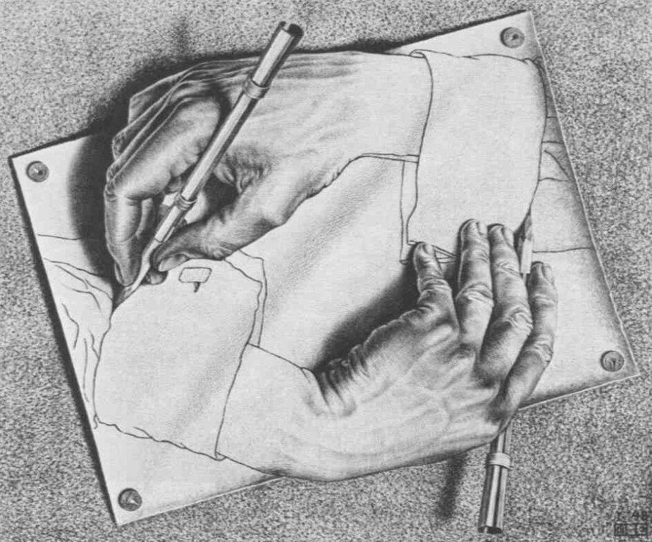 Ilustrasi saling menggambar tangan
