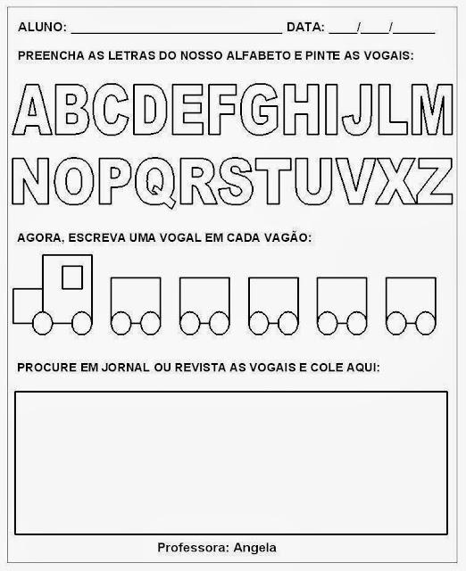 Atividades vogais - Escreva as vogais