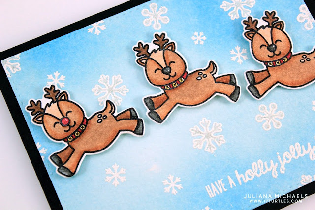 Sunny Studio Stamps: Gleeful Reindeer Holly Jolly Christmas Card by Juliana Michaels.