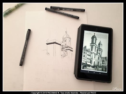 église st-charles ville de Sedan dessin au trait