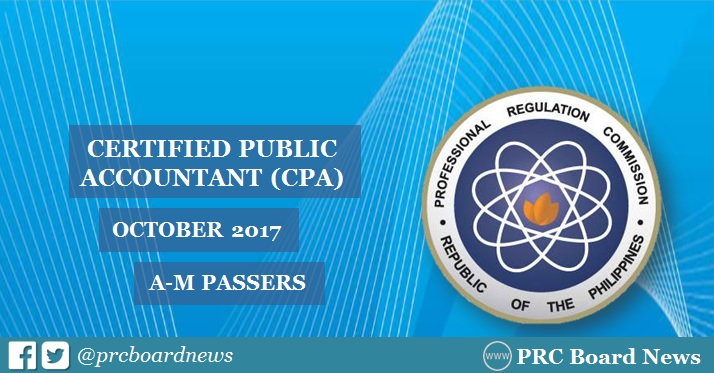 A-M Passers List: October 2017 CPA board exam results