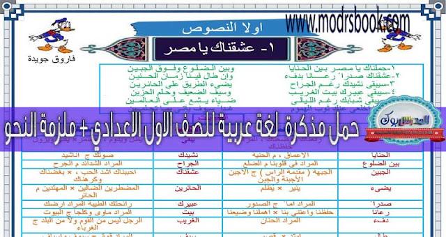 مذكرة لغة عربية للصف الأول الاعدادي 2017 + ملزمة نحو للصف الأول الاعدادي 2017