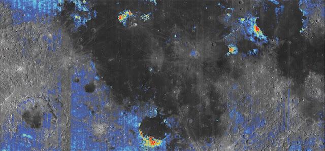 mapa mostra áreas onde pode ter mais água na Lua