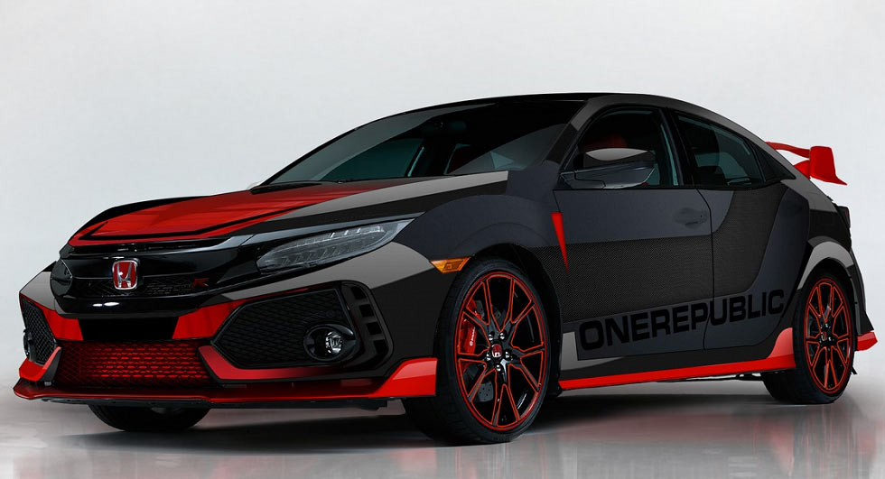 honda shows off a custom civic type r designed by onerepublic. Black Bedroom Furniture Sets. Home Design Ideas