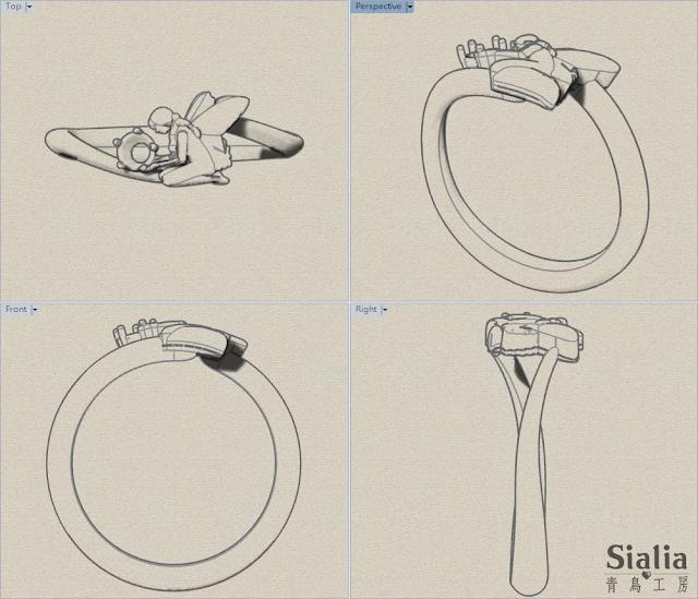 「仲夏夜之夢」鑽石女戒不同視角的設計圖