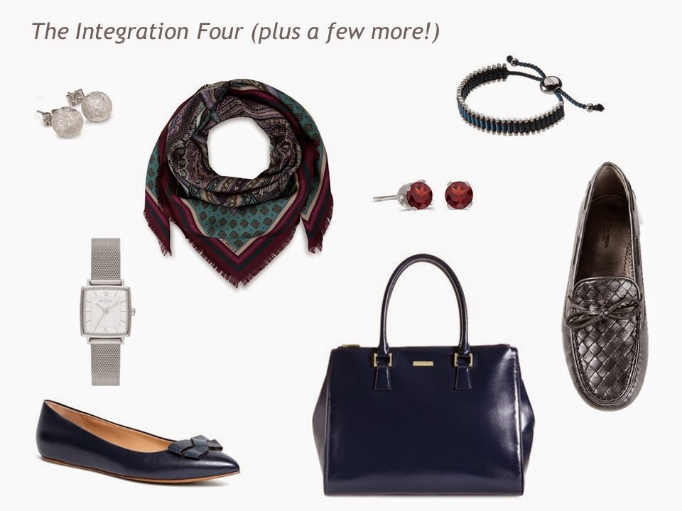 The Integration Four accessories for a navy, grey, teal and burgundy Four by Four Wardrobe