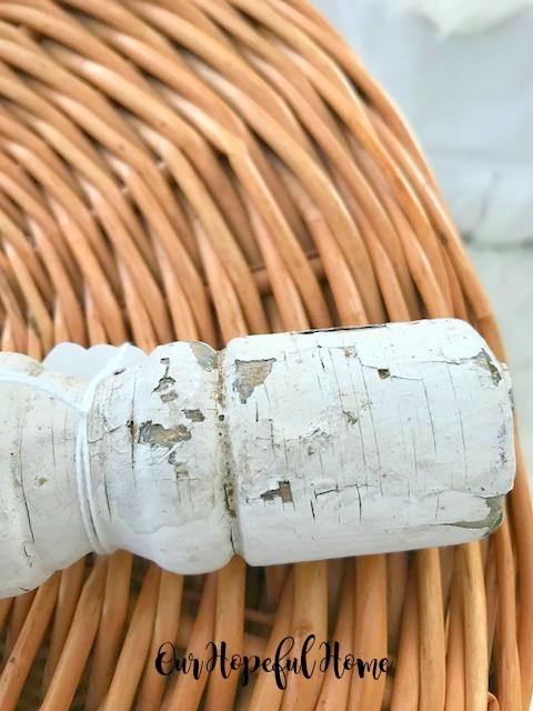chippy shabby vintage baluster  basket storage ottoman