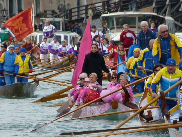 Pink Lionesses participating in the row to La Salute