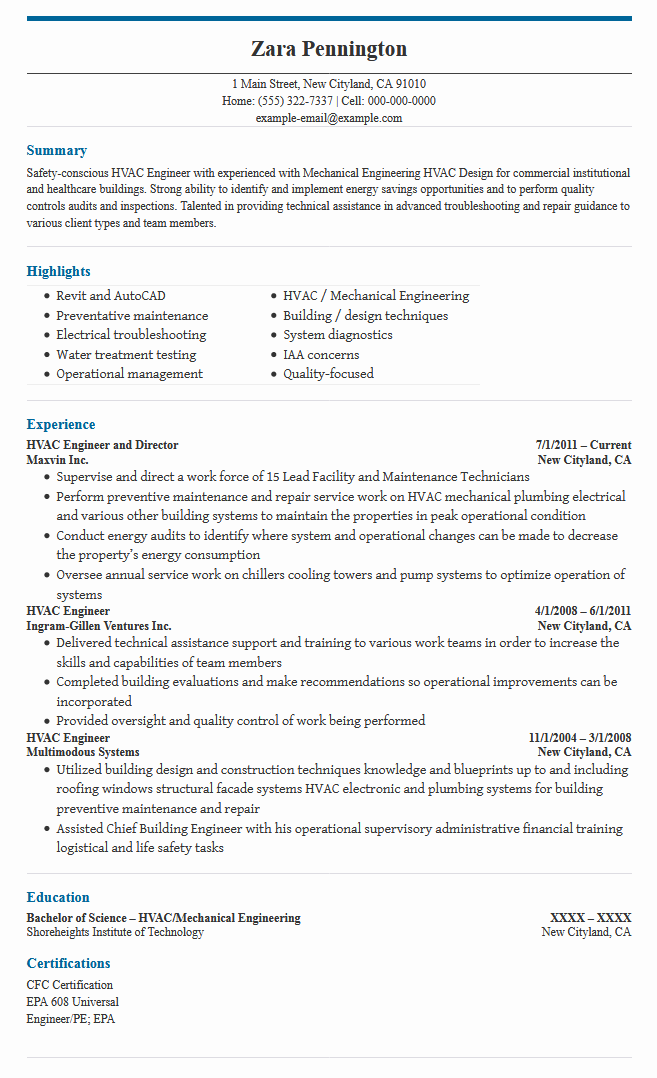 HVAC Maintenance Engineer Sample Resume Free Download Best Free