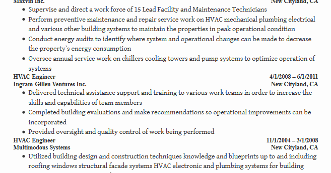 Hvac Maintenance Engineer Sample Resume Free Download Best  Hvac Engineer Resume