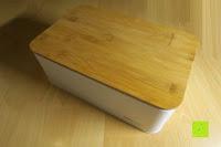 Erfahrungsbericht: Brotkasten aus Metall mit Deckel aus Bambus | 32 x 20 x 12 cm | Bewahren Sie Ihr Brot luftdicht und hygienisch auf