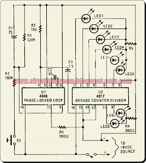 Simple LED Electronic Roulette Circuit Diagram