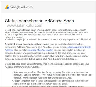 Daftar google adsemse di tolak