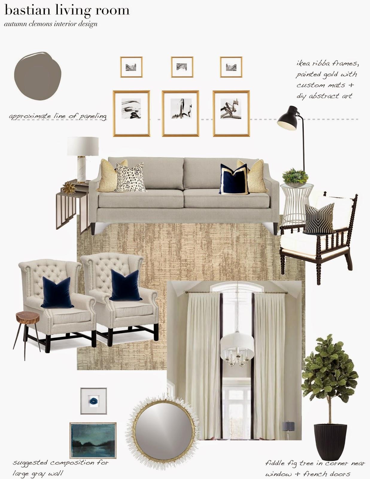 Room Design Program: Design Dump: Design Plan: Dramatic, Neutral Living Room