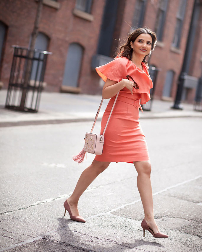 Tangerine Ruffle Caroline Dress Rachel Sin Blogger Outfit