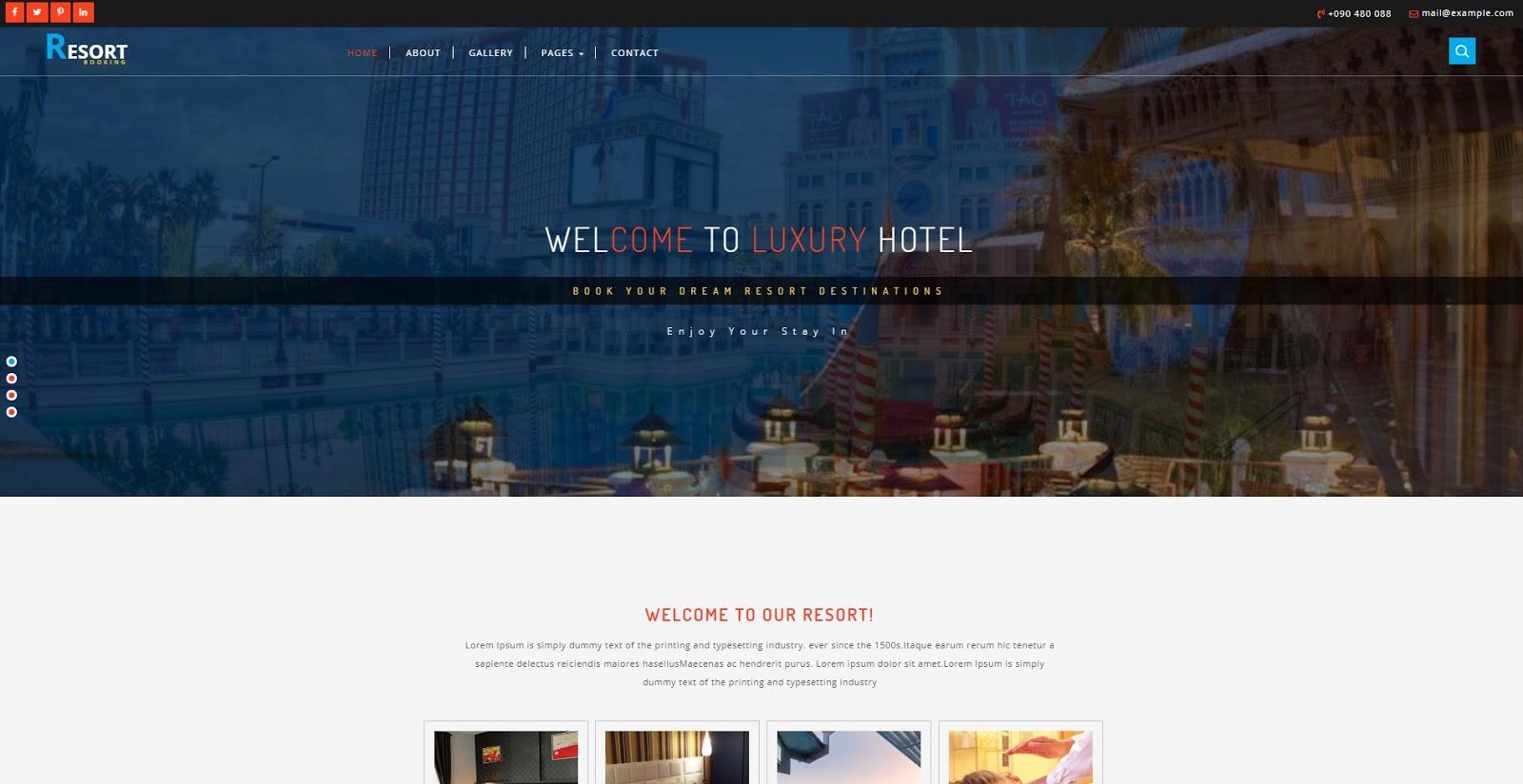 Chia sẻ giao diện đặt phòng khách sạn resort hotel