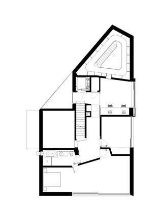 Floor plan of The L House by Philippe Stuebi Architekten GMBH
