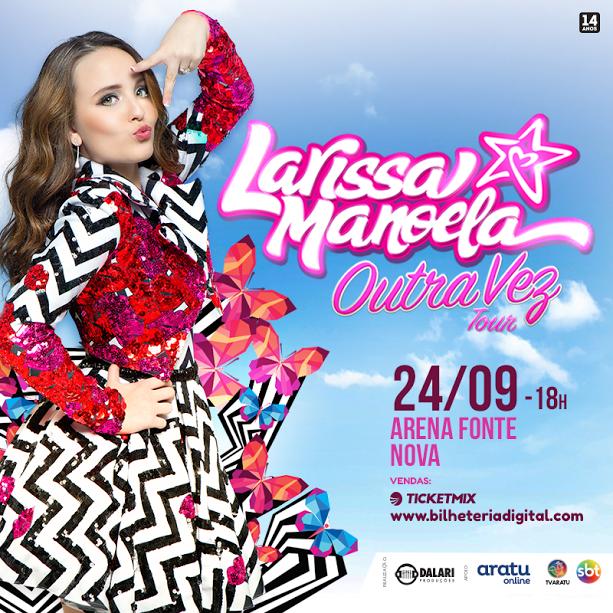 No próximo dia 24 de setembro, quando a atriz e cantora Larissa Manoela  pisar no palco da Arena Fonte Nova, os fãs poderão realizar o sonho de  assistir, ... 66867ccada