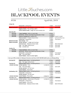 B2B Blackpool Hotelier Free Resource - Blackpool Shows and Events  April 5 to April 11 - PDF What's On Guide Listings Print-off #154 Thursday April 4