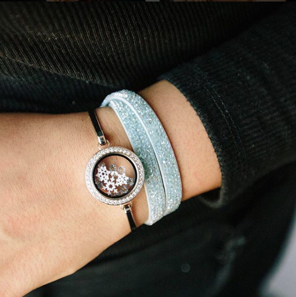 Crystal Light Blue Swarovski Double Wrap Bracelet by Origami Owl at StoriedCharms.com