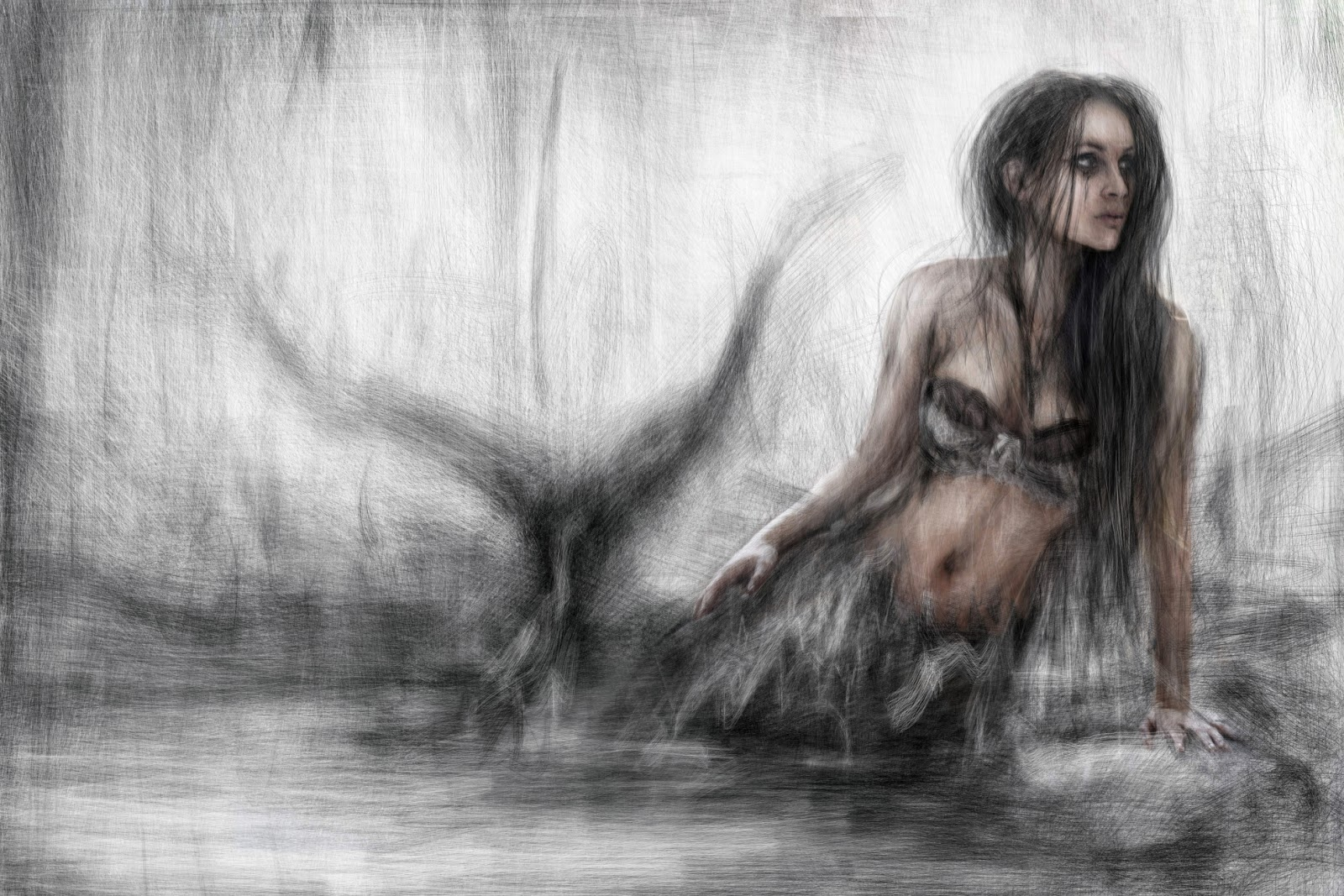 Mermaid painting by Justin Gedak