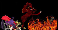 a graphic (c)Erika Grey depicting the Whore of Babylon in Revelation 17 judgement.  The graphic shows the scarlet beast of revelation with its 7 to 8 heads standing on two legs. The 7th head with the ten horns and mouth of a lion along with the 8th head are and eating the flesh of the Whore of Babylon as it is described in Revelation 17.  The Whore of Babylon lays charred in flames below the beast of Revelation and to the right of the Beast are the clothing, jewelry, headdress, braided wig and cup that were stripped off of the Whore of Babylon leaving her naked and burning in destruction.