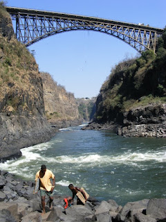 The railway bridge and boiling pot at Victoria falls