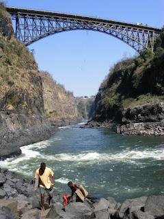 The railway bridge and boiling pot at Victoria falls