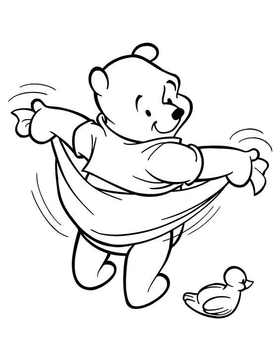 Tranh cho bé tô màu gấu Pooh 11