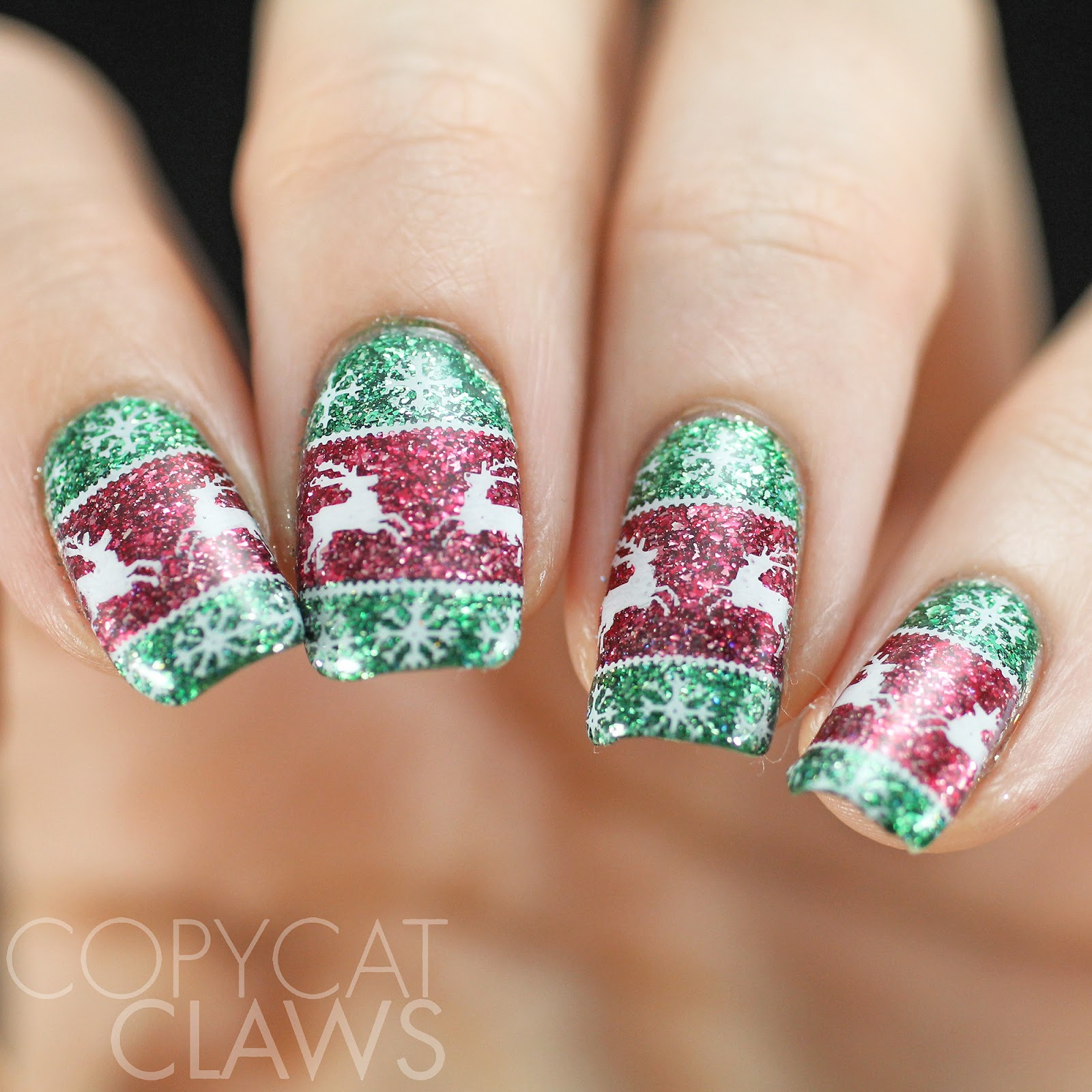 Copycat Claws: Sunday Stamping - Ugly Christmas Sweater Nails