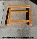 This is a Used Light-Duty H-Frame Wood Art Easel