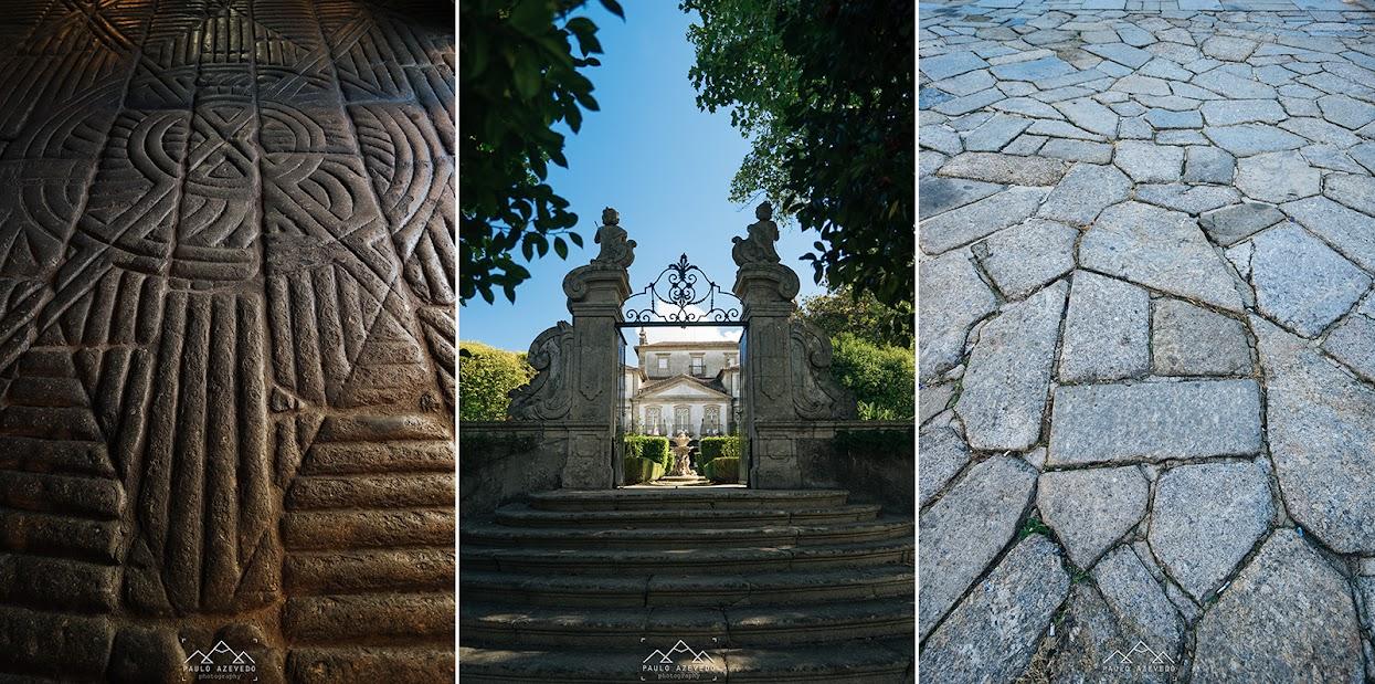 Tríptico com pormenores do jardim do Museu dos Biscaínhos