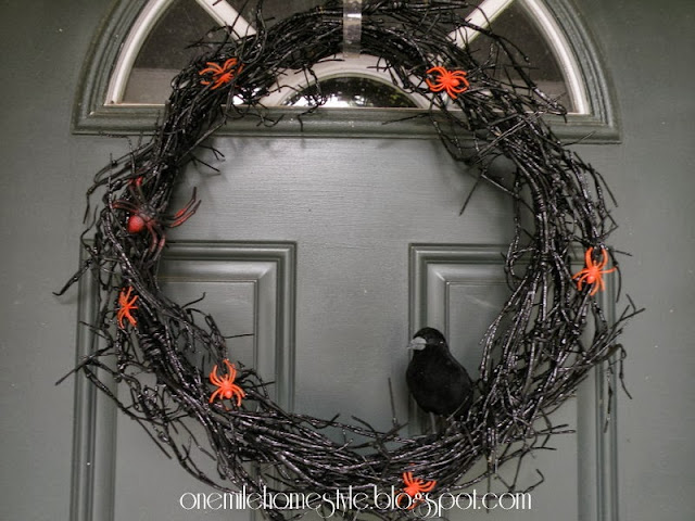 Black Halloween Wreath with Crow