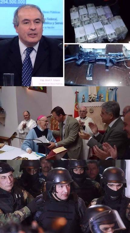 Ex-secretário kirchnerista pego escondendo milhões de dólares, joias e armas em mosteiro. No centro em comemoração com o bispo. Embaixo fortemente custodiado pela polícia