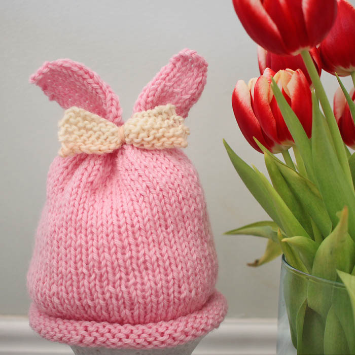 Baby Girl Bunny Ear Hat Free Knitting Pattern - Gina Michele
