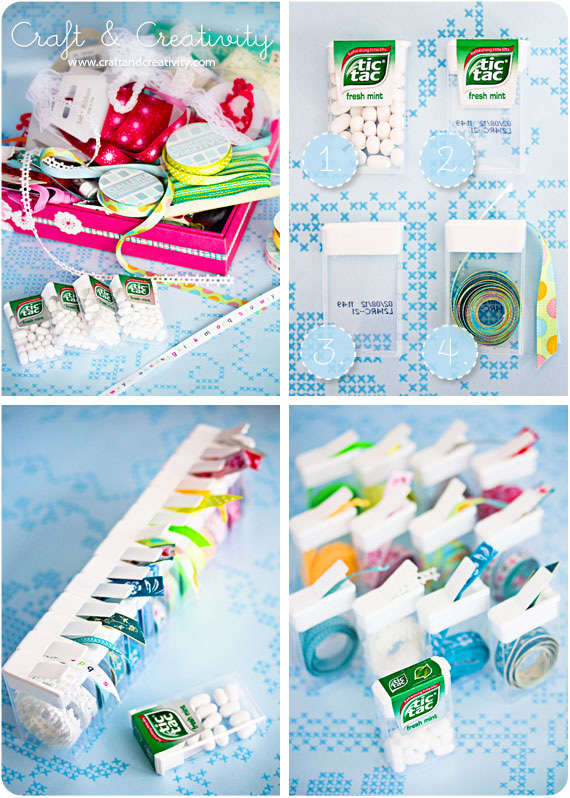 Tic tac containers for small ribbon storage