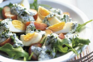 This potato salad with hard boiled eggs is filling and fresh.