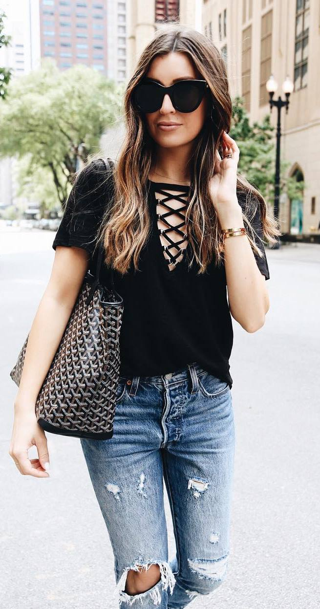 simple outfit idea: rop + bag + ripped jeans