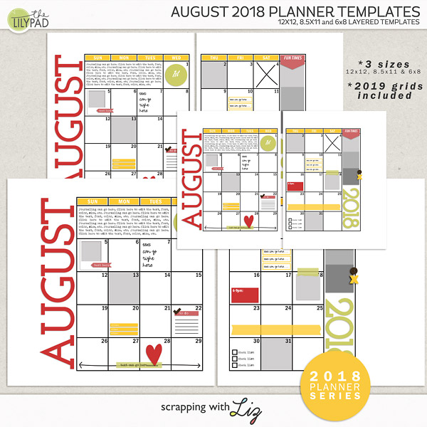 August 2018 Planner Templates - Digital Scrapbook Style