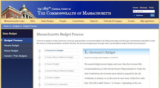 screen grab of MA Gov budget process webpage